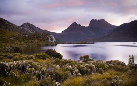 Cradle Mountain sits majestic atop Dove Lake in Tasmania, Australia