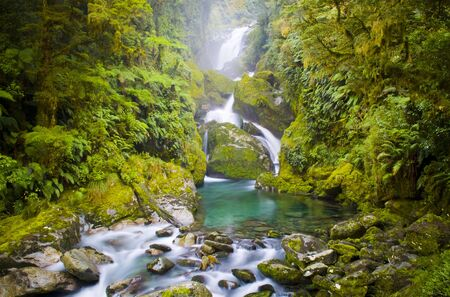 Mackay Falls along the Milford Track in New Zealand. Stock Photo - 6834013