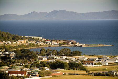 port stanley: A sundown view of Stanley, Tasmania, Australia and its seaside setting.