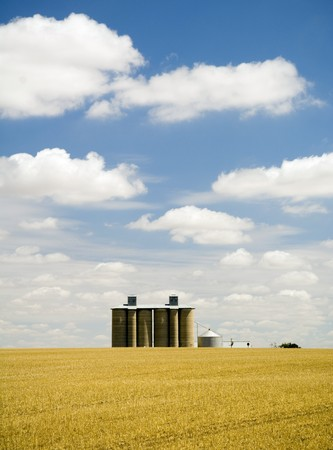Harvested field with grain silo and fluffy white clouds Stock Photo - 6949726