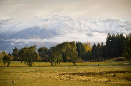 Snow covered peaks wrapped in cloud at sunrise, farmland in foreground photo