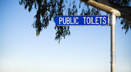 genders: Sign directs to public toilets, with leaves and copy space