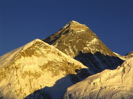 everest: Worlds heighest mountain, Mt Everest (8850m) and Nuptse to the right in the Himalaya, Nepal.
