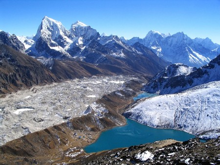 hike: View from Gokyo Ri in the Nepalese Himalaya Stock Photo