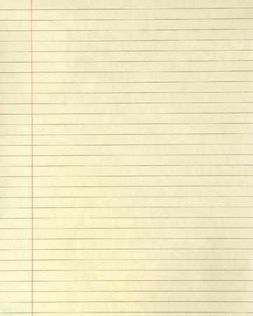 Gelbe Liniertes Papier mit einer Marge running down es
