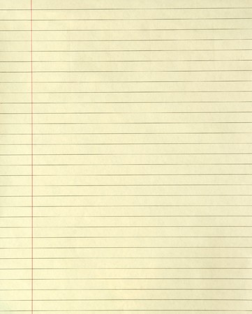 writing pad: Yellow lined paper with a margin running down it