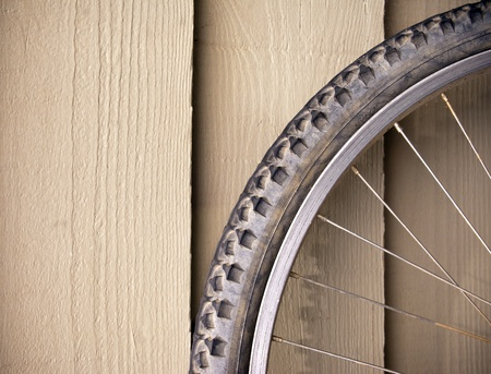 compostion: Abstract compostion of a used mountain bike wheel Stock Photo