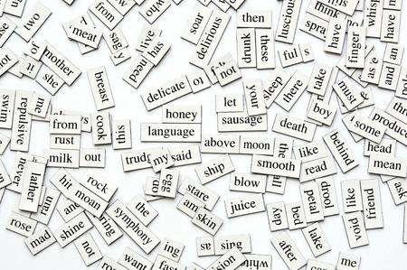 poezie: Willekeurige verzameling van verschillende woorden en word-formulieren op magnetische tegels