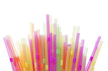 a straw: Drinking straws in many different colours Stock Photo
