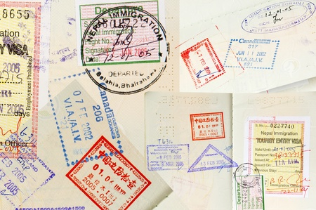 canada stamp: Passport stamps background with various countries Stock Photo