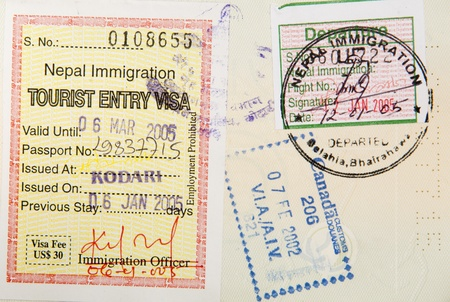 Passport stamps background with various countries photo