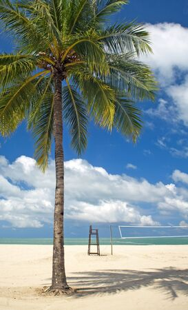 langkawi island: Tropical beach with palm tree, clean sand and volleyball court Stock Photo
