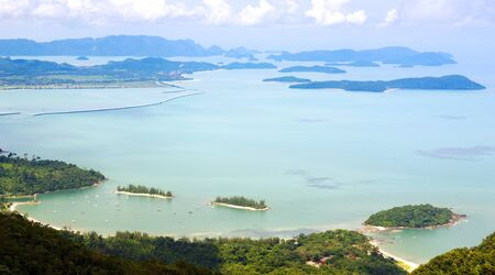 langkawi island: View from on high of coastline and tropical islands