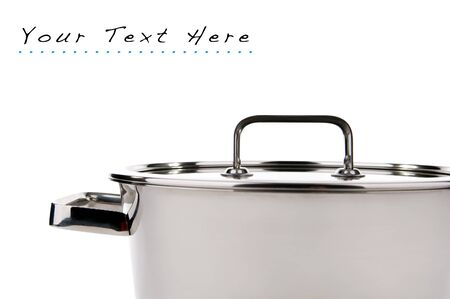 Modern saucepan over white with room for text photo