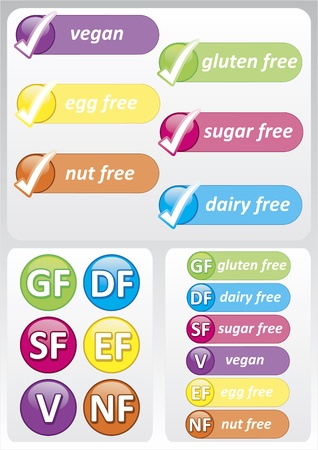 Selection of colourful food allergy labels including gluten, nut, dairy, sugar and egg free Vector
