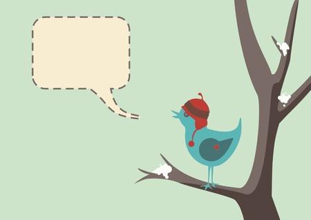 speech bubble: Le style d'hiver d'un oiseau mignon portant un chapeau, assis dans l'arbre avec de la neige, avec bulle