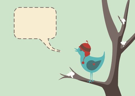 Winter style of a cute bird wearing a hat, sitting in tree with snow, complete with speech bubble Illustration