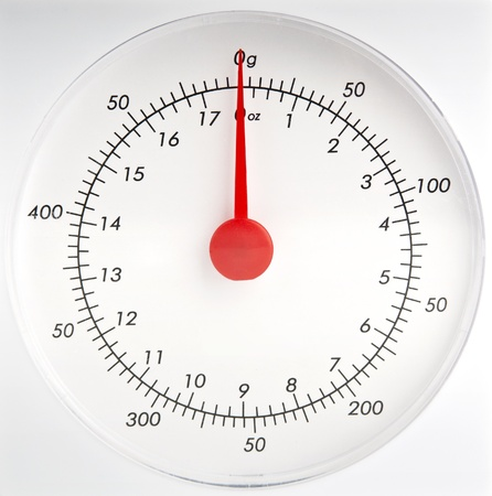 kitchen scale: White kitchen scale dial with a red pointer