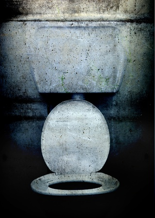 A western style toilet in grunge, dirty style photo