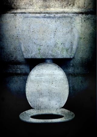 Een westers toilet in grunge, vuil-stijl Stockfoto