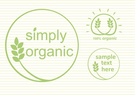 Simply organic vector label, logo or sticker for products in green - 3 varieties  Illustration