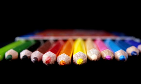 primary colors: Row of brightly colored pencil