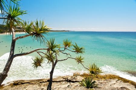 Australian beach on a hot summers day, Stradbroke Island, Queensland, Australia