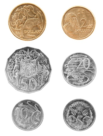 Set of Australian coin currency, including 5, 10, 20 and 50 cent coins, plus 1 and two dollars, isolated on white Stock Photo