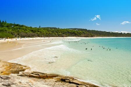 Australian beach on a hot summers day, Stradbroke Island, Queensland, Australia photo