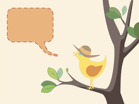 speak bubble: Seasonal illustration of a cute bird with a summer hat on a tree with green leaves