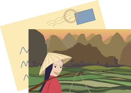vietnam: Asian woman smiling while working in rice fields at sunset with mountains behind
