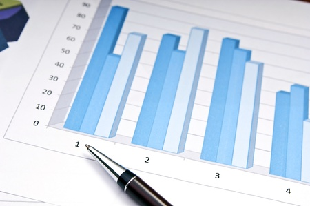 Bar charts and pen as accounting or business concept photo
