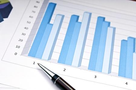 grafica de barras: Los gr�ficos de barras y la pluma como concepto de contabilidad o de negocios