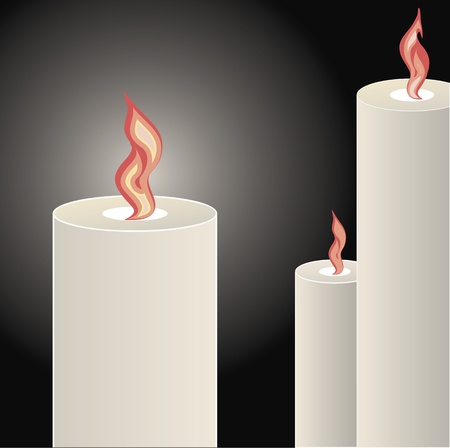 Candles burning bright over a black background Vector