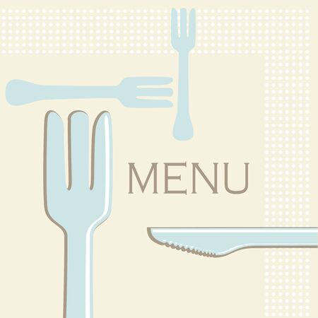 Simple menu or cafe illustration of knives and forks in retro style Stock Vector - 13414467