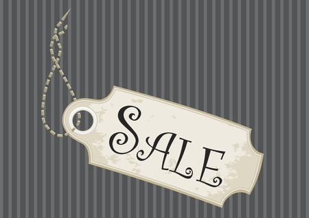 pinstripe: Sale tag or swing ticket in a fancy design over pinstripe background
