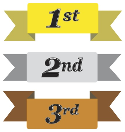1 place: Winners ribbons for first, second and third place in gold, silver and bronze isolated on white