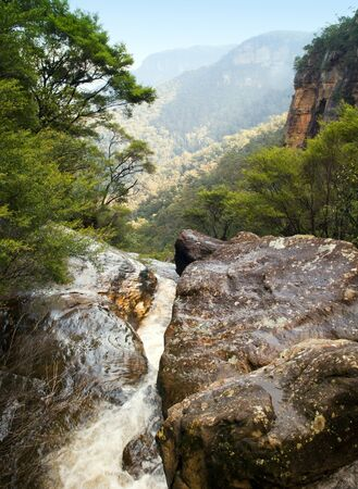 River flows through rocks in the Blue Mountains, Australia photo
