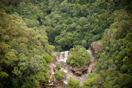 valley below: Waterfall flows into valley below with thick forest Stock Photo