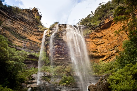 mountain pass: Wentworth Walls waterfall in Blue Mountains, Australia near Sydney