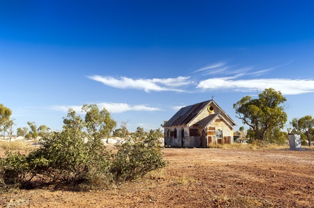 outback: Old church in outback rural Australia under a blue sky