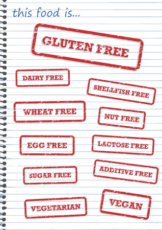 Rubber stamp of allergy products, such as gluten, dairy and sugar free Vector