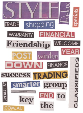 financial newspaper: Newspaper cut out words isolated on white in different colors and fonts