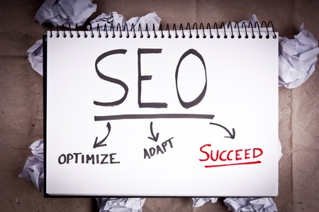 backlink: SEO - search engine optimization - concept for adaption and success Stock Photo