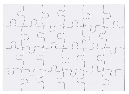 Jigsaw puzzle in white which is blank and isolated Stock Photo - 14954336