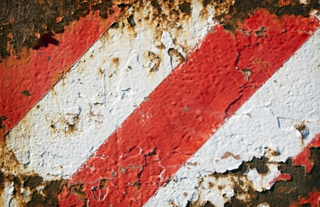 Grunge striped background of rusted metal and red and white painted stripes Stock Photo - 16066557