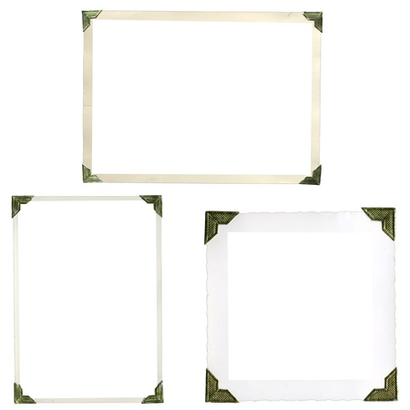 Collection of old picture corners, frames and edges isolated on white in high resolution photo