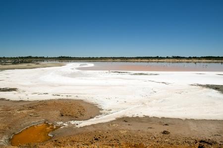hotter: Salt lake, evidence of drought in rural Australia Stock Photo
