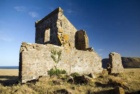 Convict ruins overlook the sleepy seaside town of Stanley, Tasmania Stock Photo - 16066662