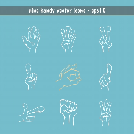finger index: Hands drawn in sketch style with nine different expressions  Illustration
